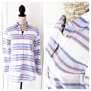J. Crew White & Blue Striped Popover Shirt